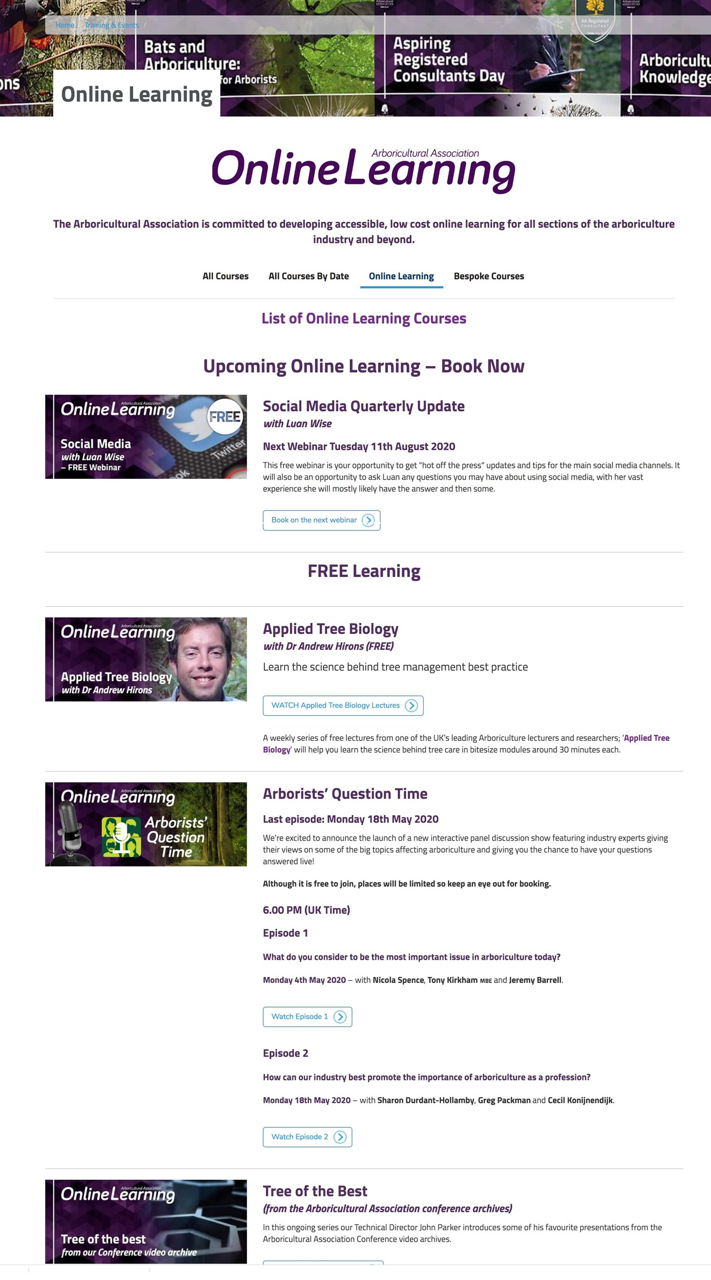 Online Learning page