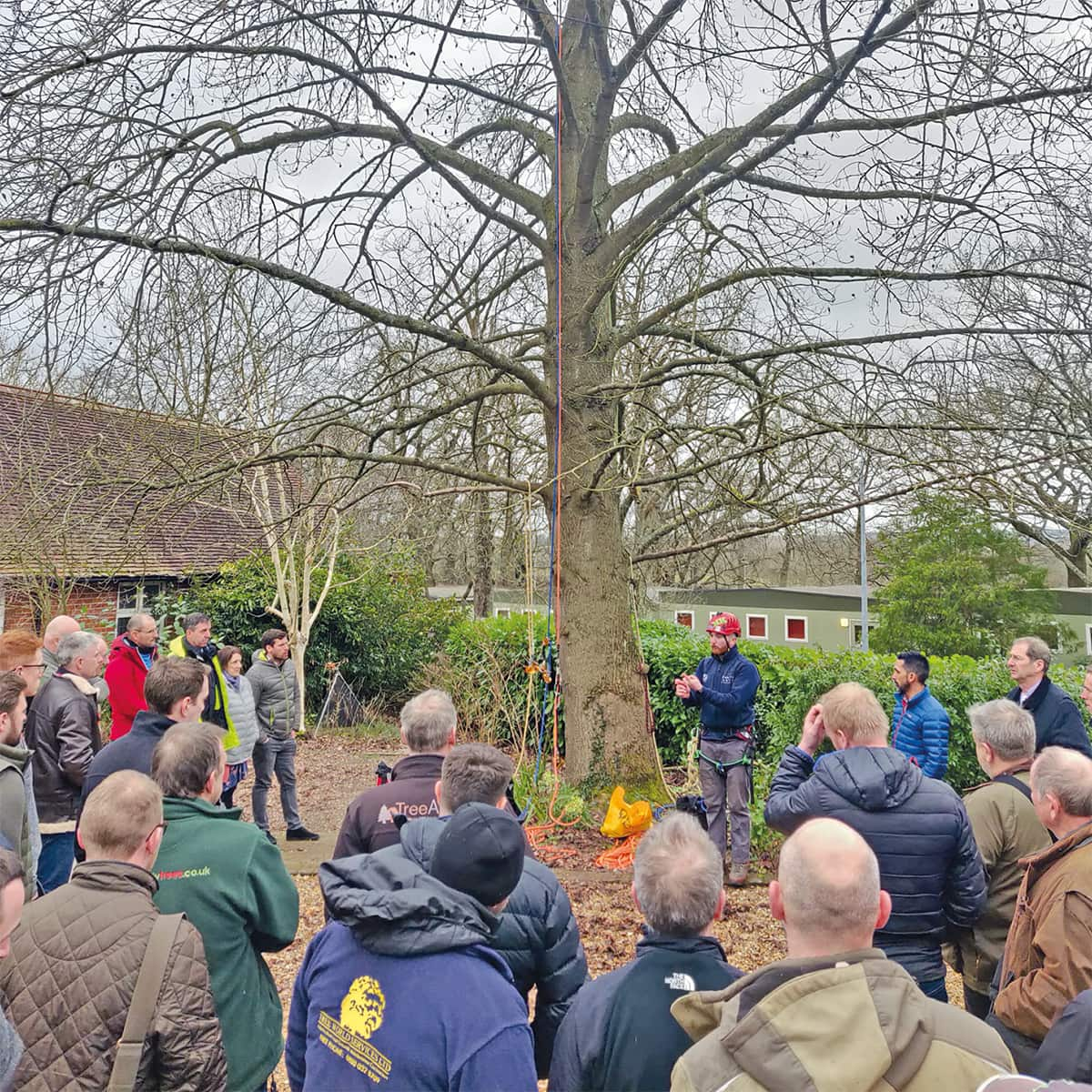 Aran Harris, of Down to Earth Trees, introduces the practical sessions at Merrist Wood College